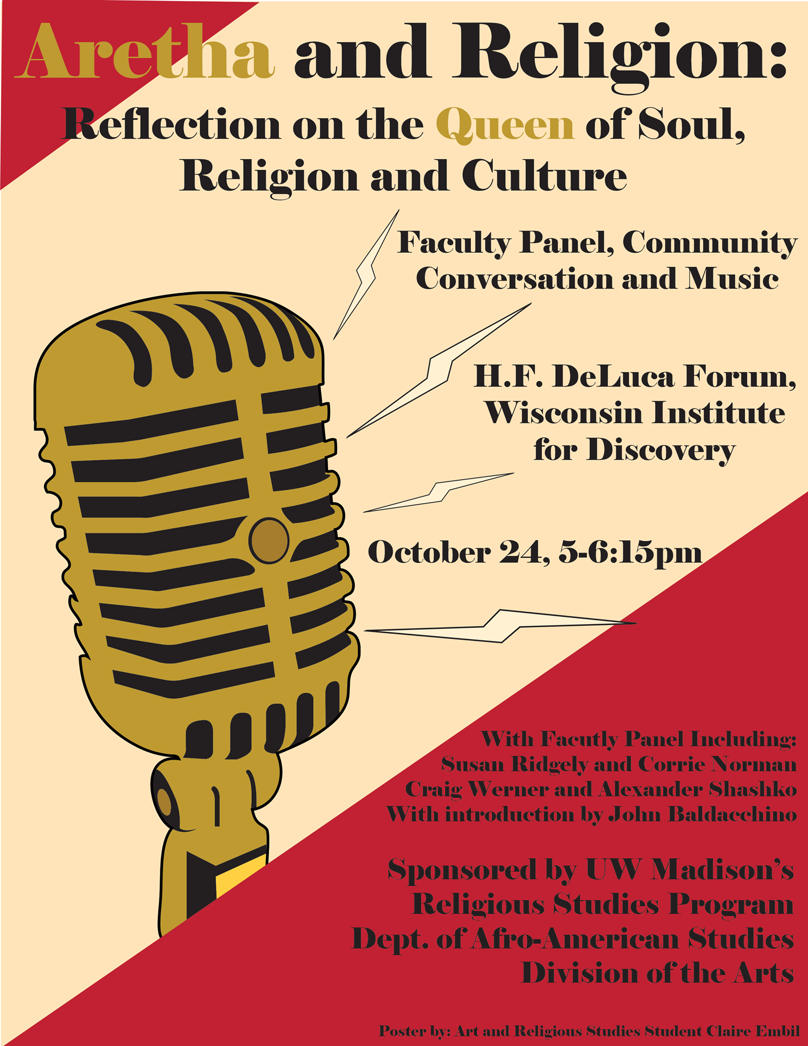 """Aretha and Religion"" event poster"